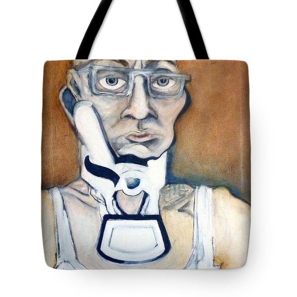 Tote Bag featuring the painting Pissed Crisis by Carolyn Weltman
