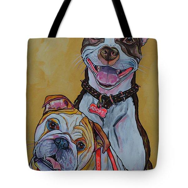 Pitbull And Bulldog Tote Bag