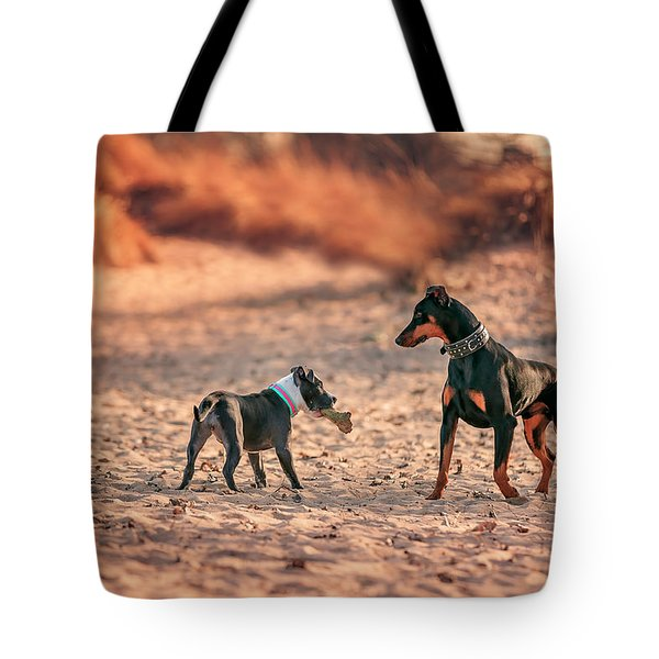 Pitbull And Doberman Tote Bag