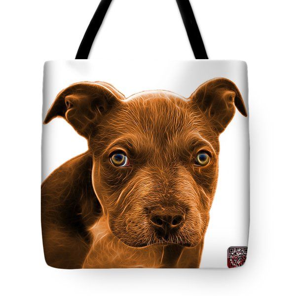 Tote Bag featuring the painting Pitbull Puppy Pop Art - 7085 Wb by James Ahn
