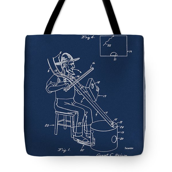 Pitch Fork Fiddle And Drum Patent 1936 - Blue Tote Bag
