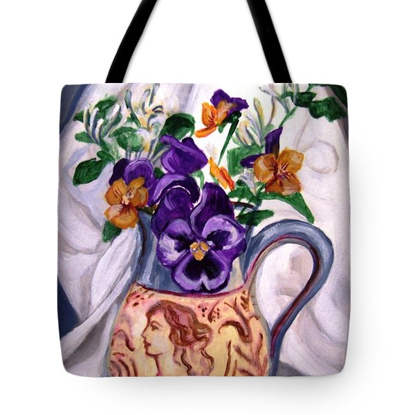 Pitcher Of Pansies Tote Bag