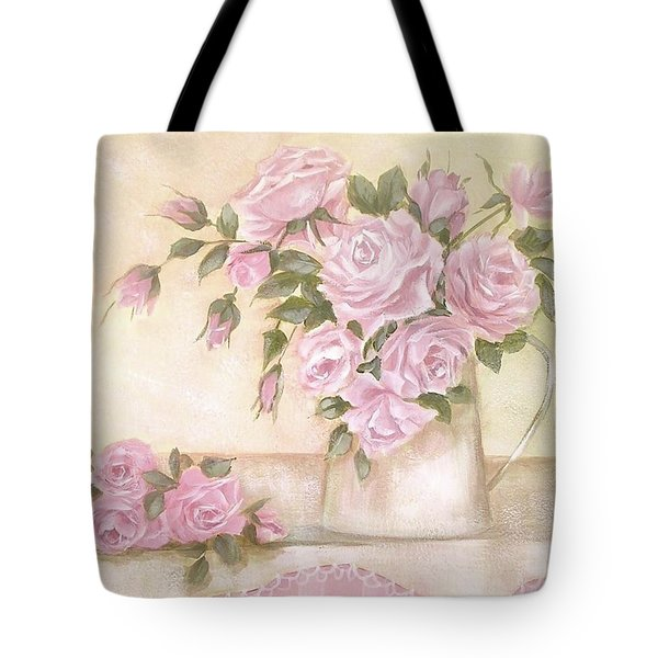 Pitcher Of  Pink Roses  Tote Bag