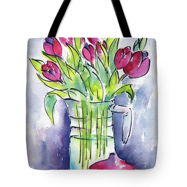Tote Bag featuring the painting Pitcher Of Tulips by Pat Katz