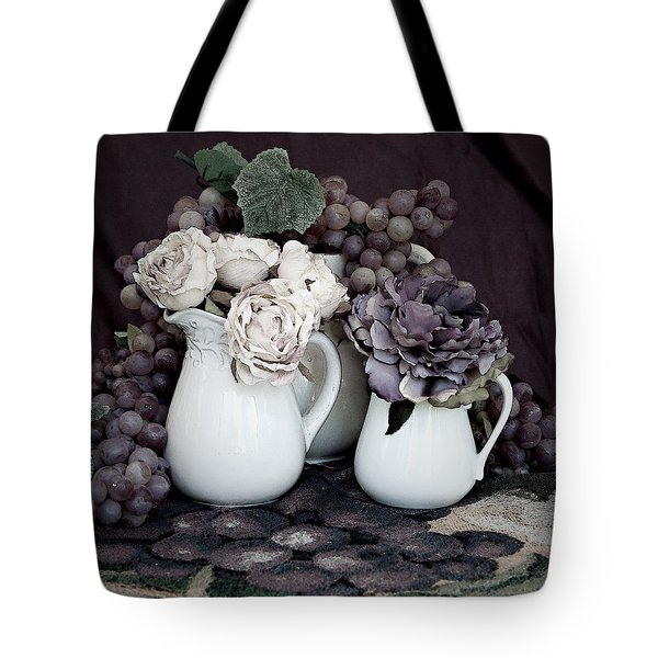 Tote Bag featuring the photograph Pitchers And Tapestry by Sherry Hallemeier