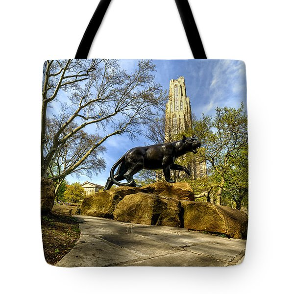 Pitt Panther Cathedral Of Learning Tote Bag