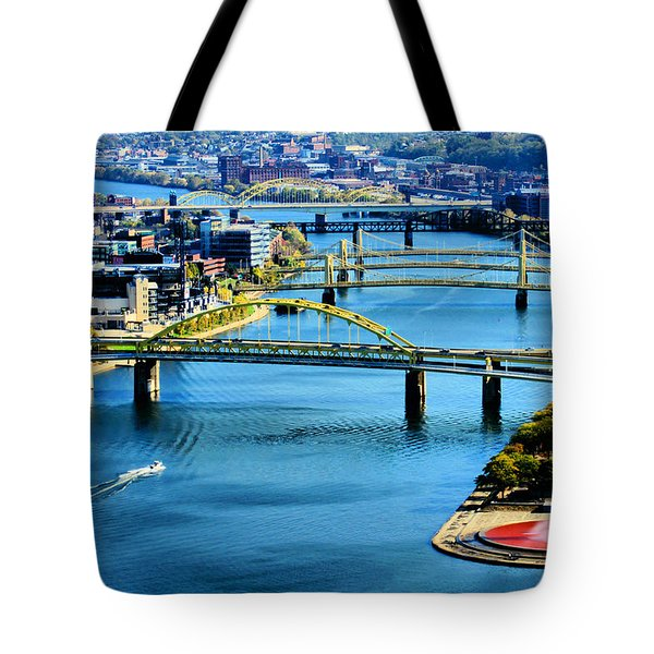 Pittsburgh At The Point Tote Bag