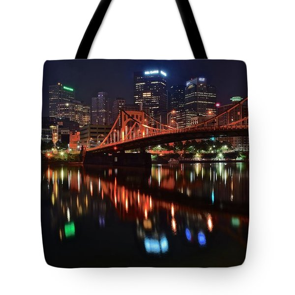 Pittsburgh Lights Tote Bag by Frozen in Time Fine Art Photography