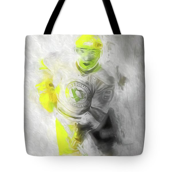Tote Bag featuring the photograph Pittsburgh Penguins Nhl Sidney Crosby Painting Fantasy by David Haskett