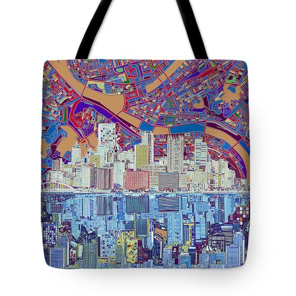 Pittsburgh Skyline Abstract 6 Tote Bag