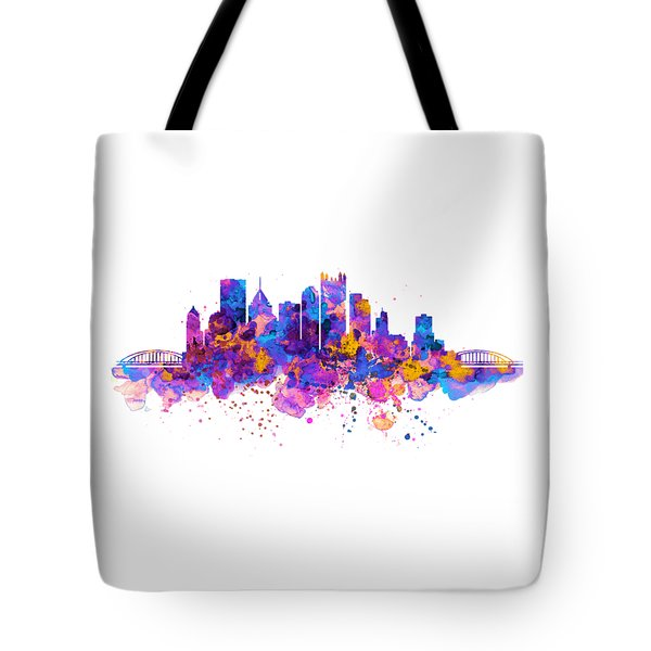 Pittsburgh Skyline Tote Bag by Marian Voicu