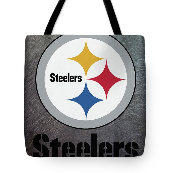 Pittsburgh Steelers On An Abraded Steel Texture Tote Bag