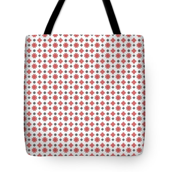 Tote Bag featuring the digital art Pixel Christmas Pattern by Becky Herrera