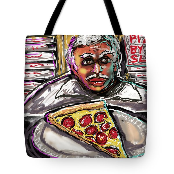 Tote Bag featuring the digital art Pizza By The Slice by Joe Bloch