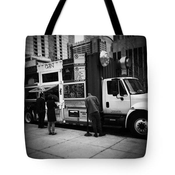 Pizza Oven Truck - Chicago - Monochrome Tote Bag by Frank J Casella