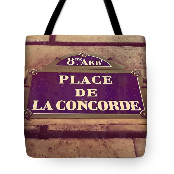 Place De La Concorde Sign Tote Bag