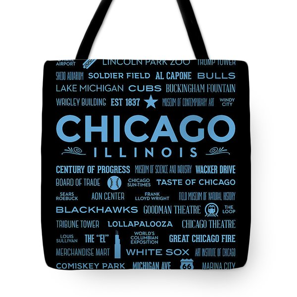 Tote Bag featuring the digital art Places Of Chicago Blue On Black by Christopher Arndt