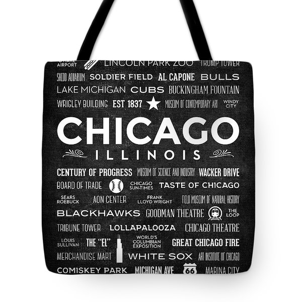 Tote Bag featuring the digital art Places Of Chicago On Black Chalkboard by Christopher Arndt