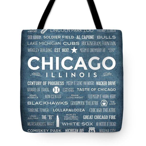 Tote Bag featuring the digital art Places Of Chicago On Blue Chalkboard by Christopher Arndt