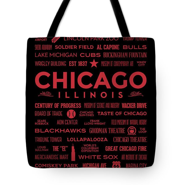 Tote Bag featuring the digital art Places Of Chicago On Red On Black by Christopher Arndt