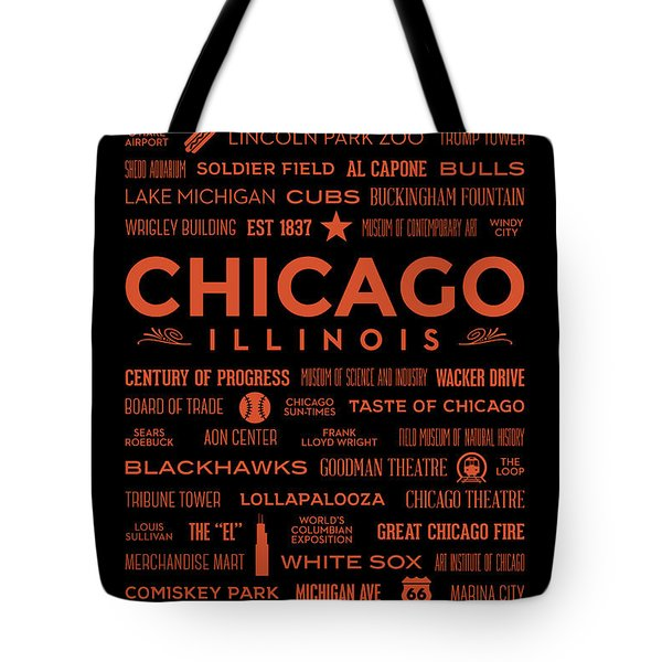 Tote Bag featuring the digital art Places Of Chicago Orange On Black by Christopher Arndt