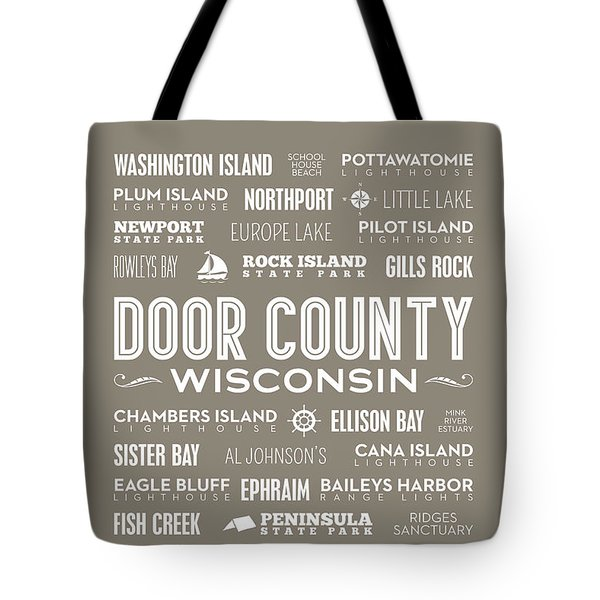 Tote Bag featuring the digital art Places Of Door County On Brown by Christopher Arndt