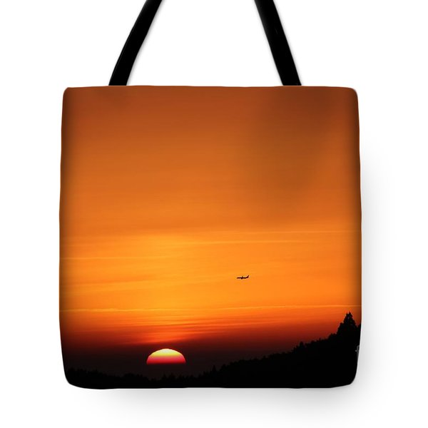 Plain And Sunset  Tote Bag