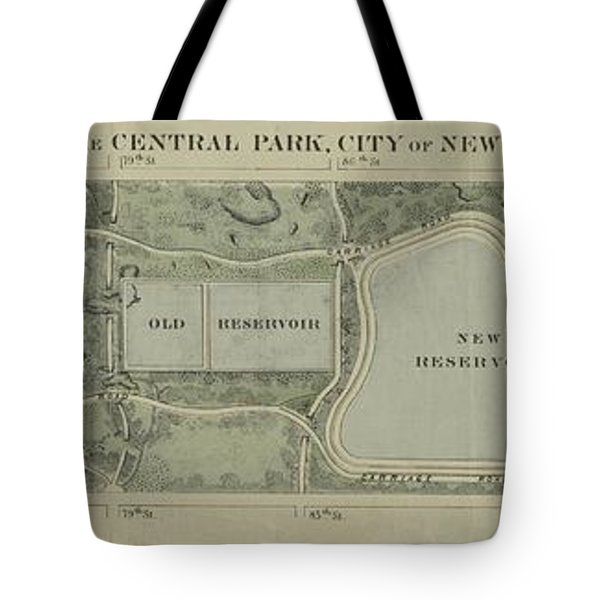 Plan Of Central Park City Of New York 1860 Tote Bag