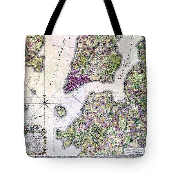Plan Of Manhattan New York 1766 Tote Bag