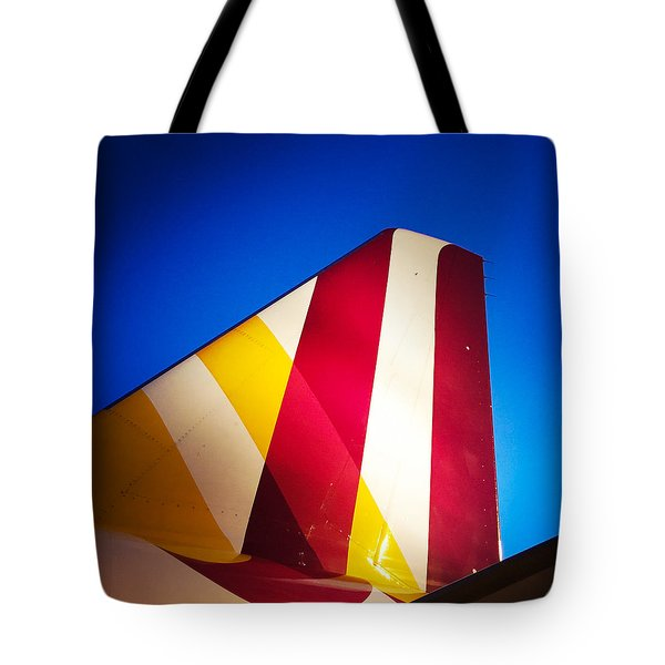 Plane Abstract Red Yellow Blue Tote Bag by Matthias Hauser