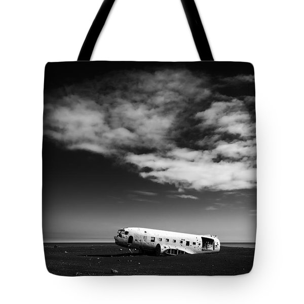 Tote Bag featuring the photograph Plane Wreck Black And White Iceland by Matthias Hauser