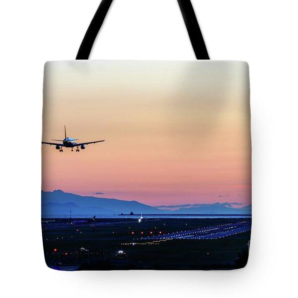 Planes Landing At Sunset Tote Bag