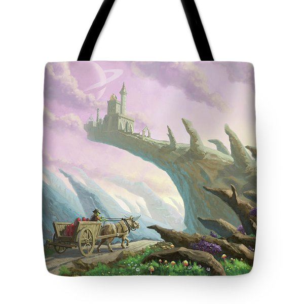 Tote Bag featuring the painting Planet Castle On Arch by Martin Davey