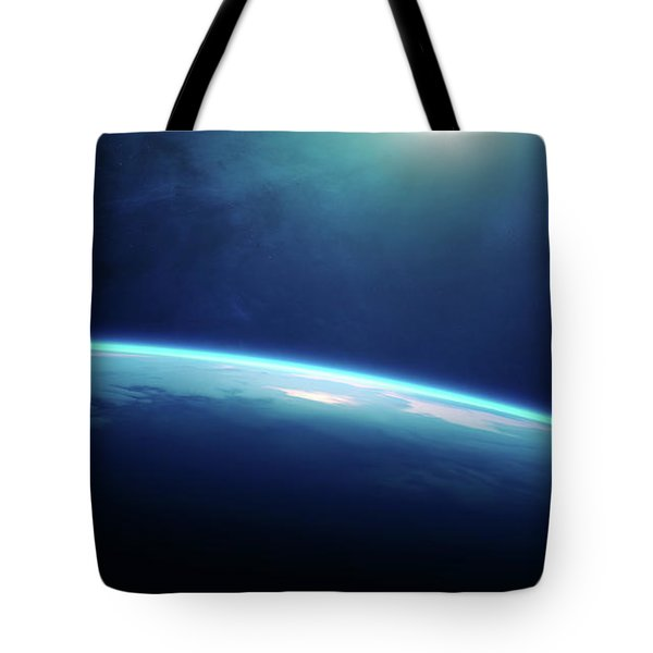 Planet Earth Sunrise From Space Tote Bag