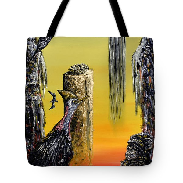 Tote Bag featuring the painting Planet Of Anomalies by Ryan Demaree