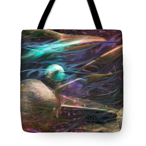 Tote Bag featuring the digital art Planetary Chaos by Linda Sannuti