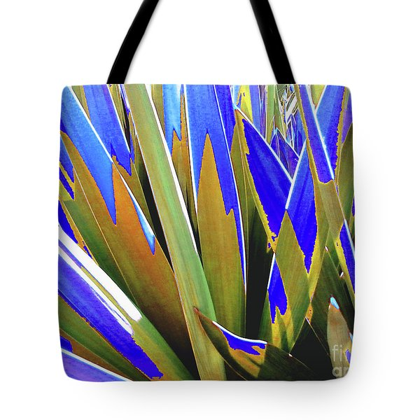 Tote Bag featuring the photograph Plant Burst - Blue by Rebecca Harman