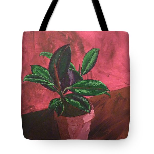 Tote Bag featuring the painting Plant In Ceramic Pot by Joshua Redman