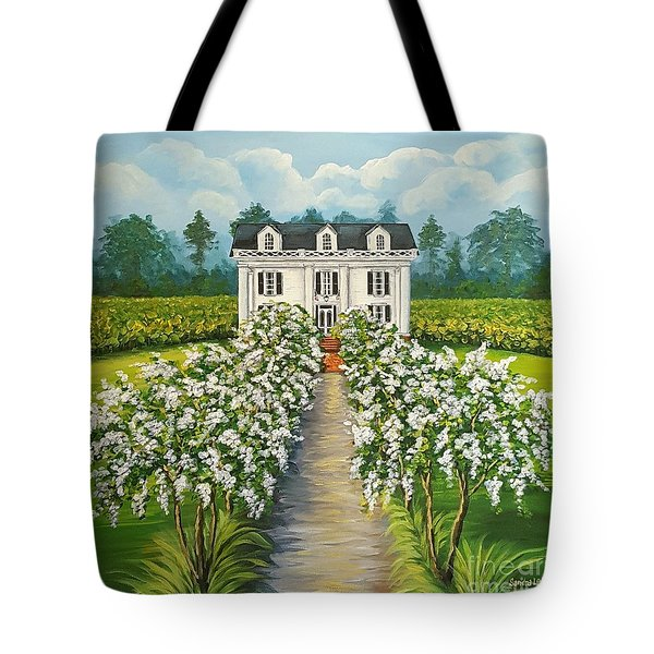 Plantation Home Tote Bag by Sandra Lett
