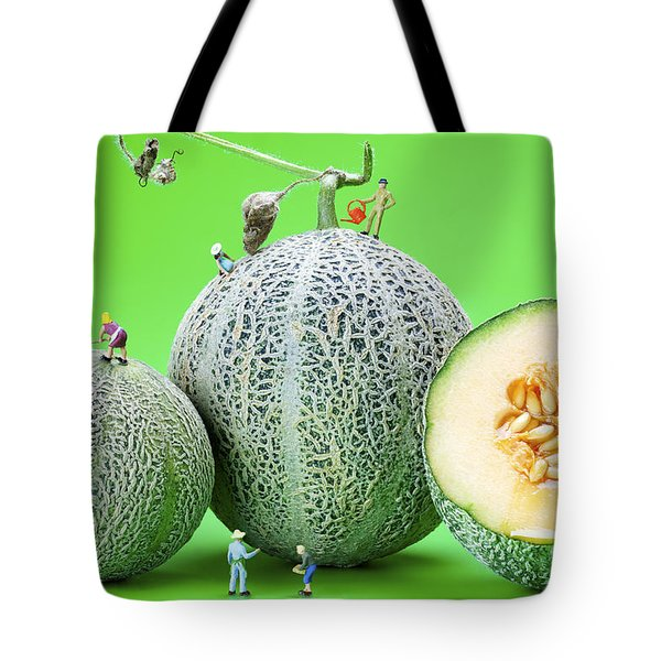 Tote Bag featuring the photograph Planting Cantaloupe Melons Little People On Food by Paul Ge