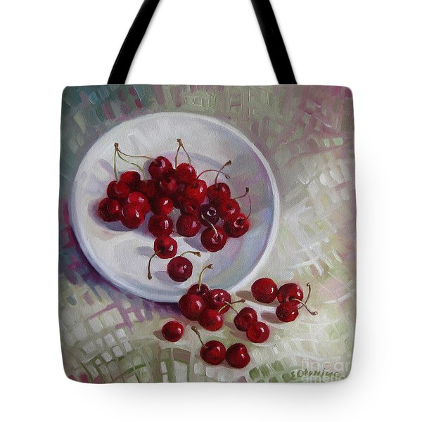 Plate With Cherries Tote Bag