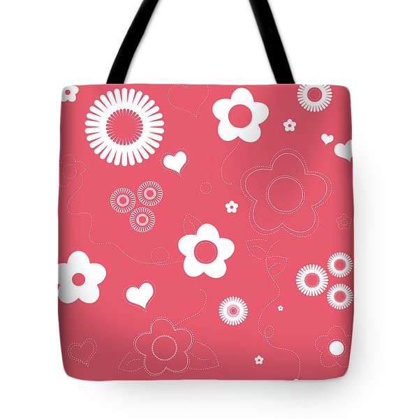 Playful Flower Background Tote Bag