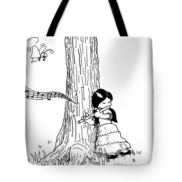 Play The Flute Under The Tree Tote Bag