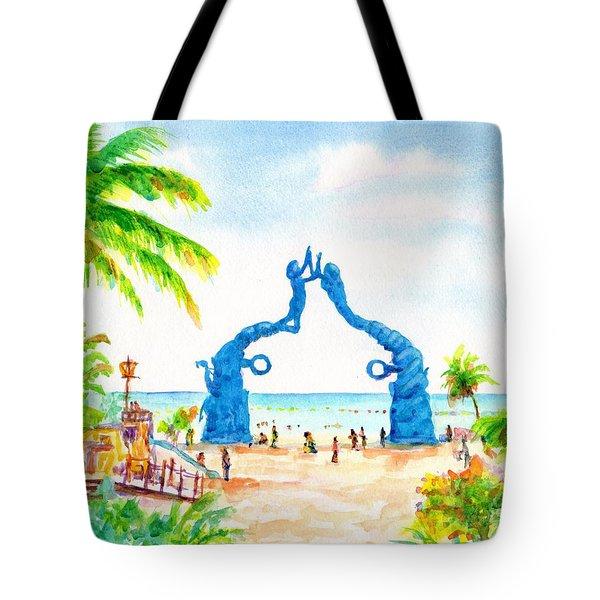 Playa Del Carmen Portal Maya Statue Tote Bag