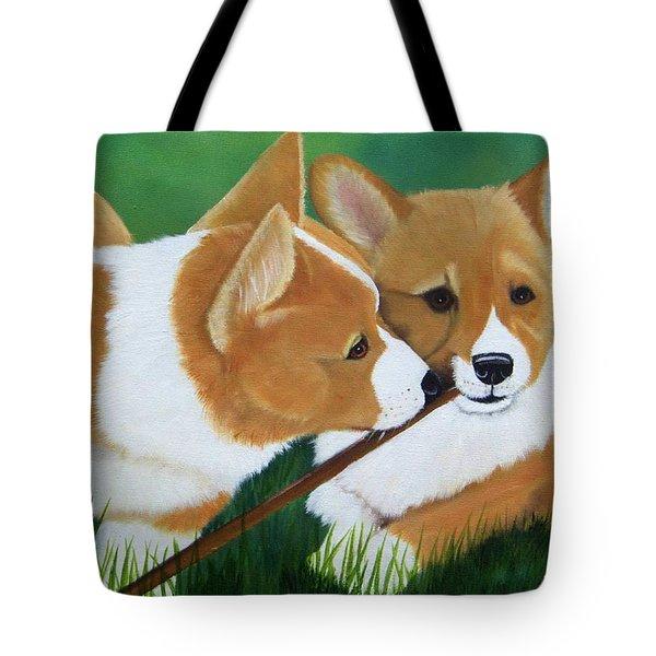Playful Corgis Tote Bag by Debbie LaFrance