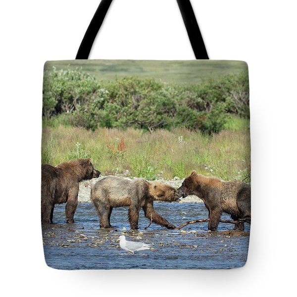 Tote Bag featuring the photograph Playful Cubs by Cheryl Strahl