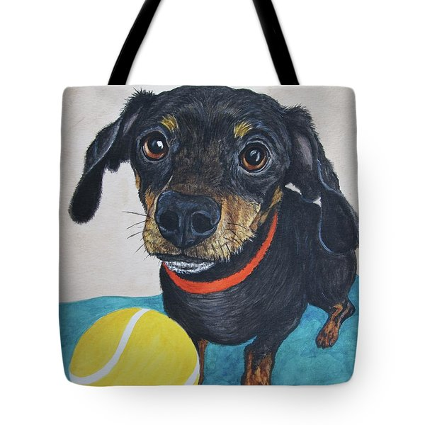 Playful Dachshund Tote Bag