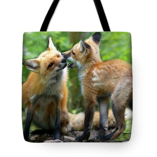 Playful Kissing Tote Bag