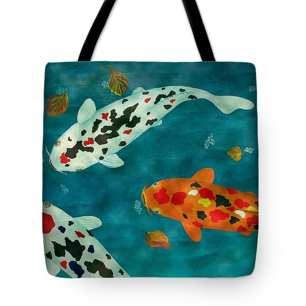 Playful Koi Fishes Original Acrylic Painting Tote Bag