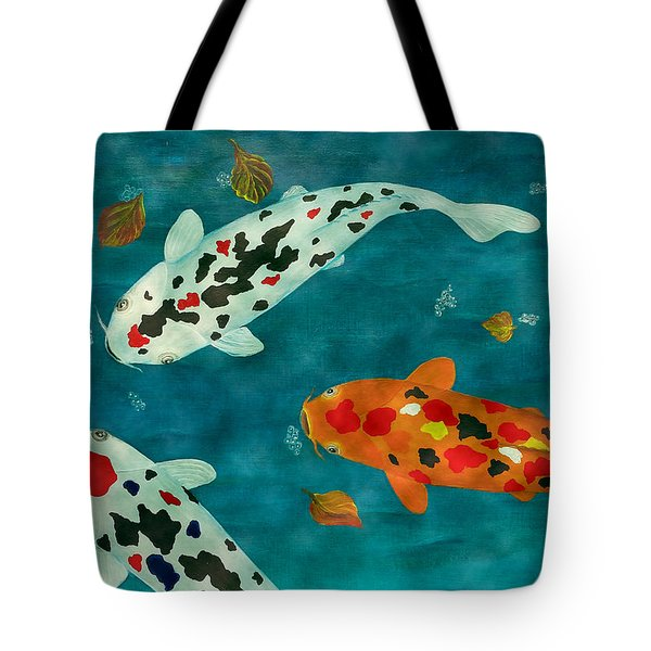 Tote Bag featuring the painting Playful Koi Fishes Original Acrylic Painting by Georgeta Blanaru